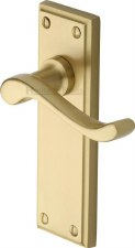 Heritage Edwardian Door Handles W3213 Satin Brass Lacquered