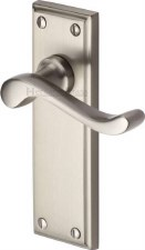 Heritage Edwardian Door Handles W3213 Satin Nickel