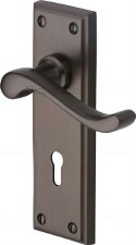 Heritage Edwardian Door Lock Handles W3200 Matt Bronze