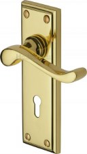 Heritage Edwardian Door Lock Handles W3200 Polished Brass Lacquered