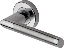 Heritage Ellipse Round Rose Door Handles ELL4242 Satin & Pol Chrome