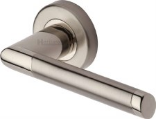 Heritage Ellipse Round Rose Door Handles ELL4242 Satin & Pol Nickel
