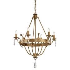 Elstead Windsor Chandelier 6 Light Gold Patina