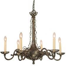 Empire 6 Arm Pendant Chandelier Light, Antique Brass