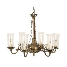 Empire 6 Arm Chandelier Pendant Light with Storm Glass, Light Antique Brass