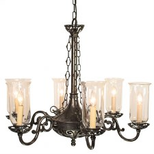 Empire 6 Arm Chandelier Pendant Light with Storm Glass Antique Brass