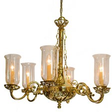 Empire 6 Arm Chandelier Pendant Light with Storm Glass Polished Brass
