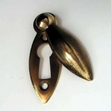 Teardrop Covered Escutcheon Antique Brass Unlacquered