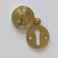 Aston Reeded Covered Escutcheon Polished Brass Unlacquered
