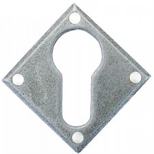 From The Anvil Diamond Euro Escutcheon Pewter Patina