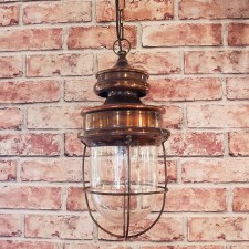 Warehouse Pendant Lamp Light Antique Brass Ex Display