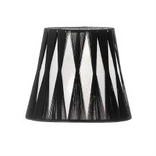 Franklite Candle Clip Lampshades Translucent Silver Fabric With Black Tie String Detail