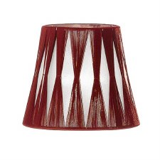 Franklite Candle Clip Lampshades Translucent Silver Fabric With Red Tie String Detail
