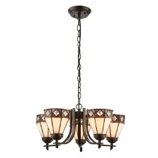 Interiors 1900 Fargo Tiffany 5 Light Up Pendant 74345