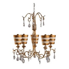 Flambeau Tivoli 5L Chandelier Gold & Cream Patina