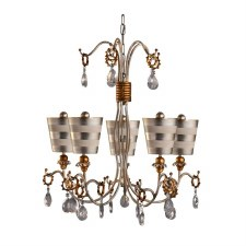 Flambeau Tivoli 5L Chandelier Silver & Cream Patina