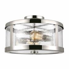 Feiss Harrow 2 Light Semi Flush Ceiling Light Polished Nickel