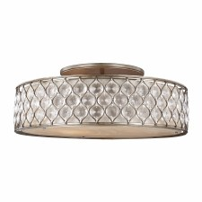 Feiss Lucia Semi Flush Ceiling Light Burnished Silver