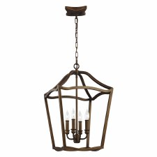 Feiss Yarmouth 4 Light Pendant Aged Brass Effect