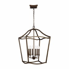 Feiss Yarmouth 6 Light Pendant Aged Brass Effect