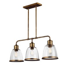 Feiss Hobson Island Chandelier 3 Light Aged Brass