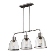 Feiss Hobson Island Chandelier 3 Light Satin Nickel