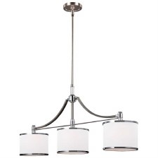 Feiss Prospect Park Chandelier 3 Light Satin Nickel/Chrome