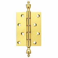 "Butt Door Hinges 4"" x 3"" Finial A Polished Brass"