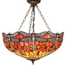 Interiors 1900 Flame Dragonfly Inverted Tiffany Ceiling Pendant Light