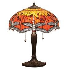 Interiors 1900 Flame Dragonfly Tiffany Medium Table Lamp
