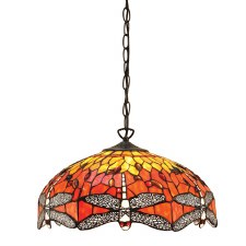 Interiors 1900 Flame Dragonfly Medium Tiffany Ceiling Pendant Light