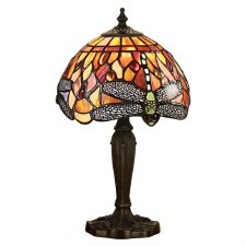 Interiors 1900 Flame Dragonfly Small Tiffany Table Lamp
