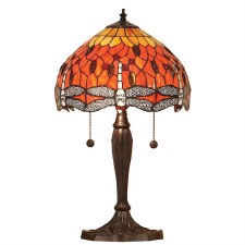 Interiors 1900 Flame Dragonfly Tiffany Table Lamp