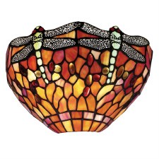 Interiors 1900 Flame Dragonfly Tiffany Wall Light