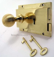 Flanged Rim Lock Polished Brass