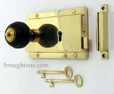 "Flanged Rim Lock 6"" Polished Brass"
