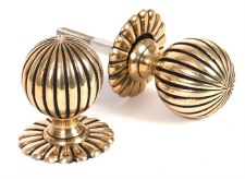 From The Anvil Flower Mortice Door Knobs Aged Brass