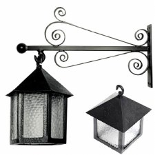 Kirkpatrick 400 Forged Scroll Bracket Outdoor Wall Lantern Hexagonal Black