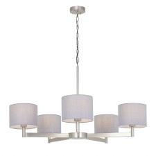 Frampton 5 Light Pendant Matt Nickel with Grey Shades