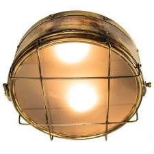 Freighter Bulkhead Ceiling Light, Light Antique Brass