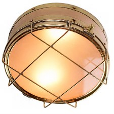 Freighter Bulkhead Ceiling Light Polished Brass
