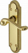 Heritage Gainsborough Latch Door Handles G020 Polished Brass Lacquered