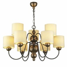 Garbo 9 Light Bronze Chandelier with Cream Shades