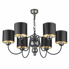 Garbo 6 Light Pewter Chandelier with Black Shades