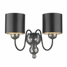 Garbo Pewter Double Wall Light with Black Shades