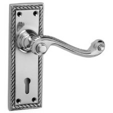 Croft Georgian 1723 Door Lock Handles Polished Chrome