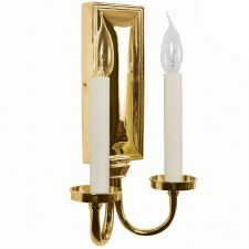Georgian Double Candle Wall Light Sconce Polished Brass Unlacq