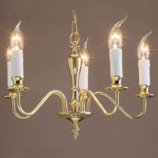 Georgian 5 Arm Chandelier Polished Brass