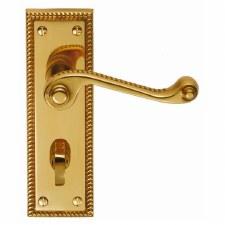 Georgian Bathroom Door Handles Polished Brass Lacquered