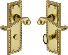 Heritage Georgian Bathroom Door Handles G050 Polished Brass Lacquered